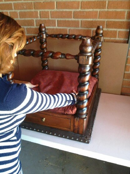 Recycled End Table as Canopy Pet Bed - placing a pillow for bed