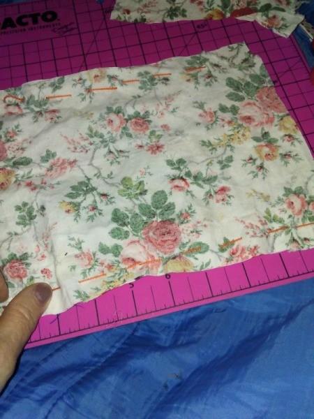 Small Fabric Bags with Crochet Drawstring - seams hand sewn