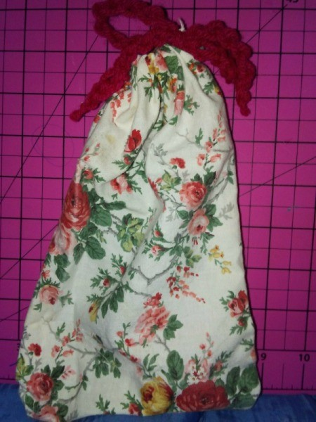 Small Fabric Bags with Crochet Drawstring - fill and tie drawstring