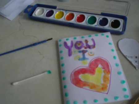 Easy Kids' Valentine Cards - add watercolor dots or other decorations to card with Q-tip or fingers