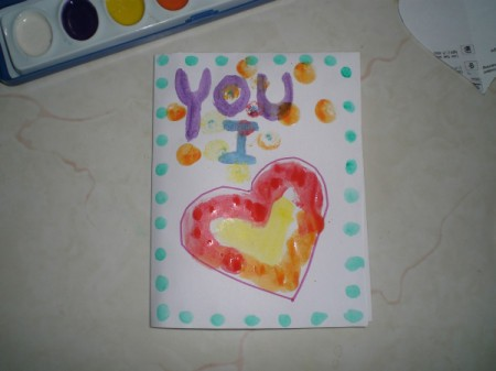 Easy Kids' Valentine Cards - card face with painted message