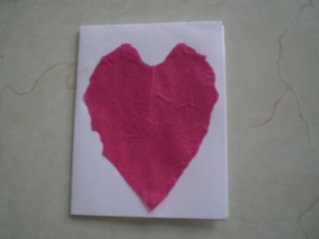 Easy Kids' Valentine Cards - card face with tissue heart