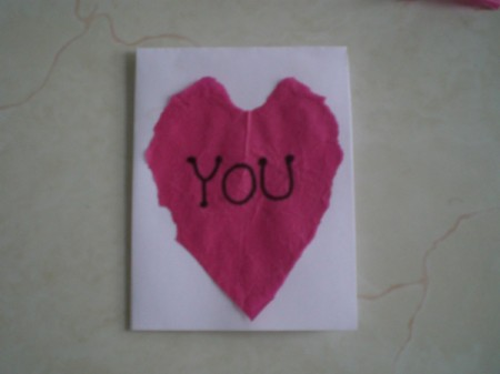 Easy Kids' Valentine Cards - completed tissue heart card