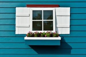 Wood window flower box.