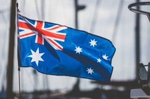 The Australian flag waving outside.