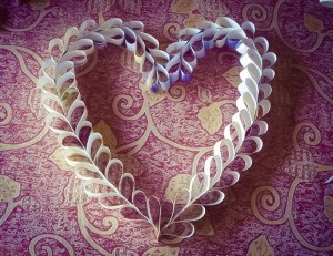 Upcycled Calendar Valentine's Heart Wreath - folded paper wreath