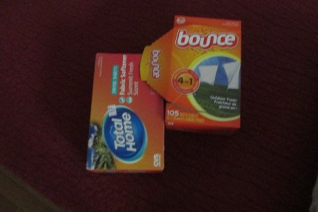Boxes of Bounce dryer sheets.