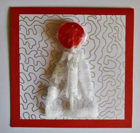 You Make My Heart Pop Valentine Card - gather the net fabric and glue dress to card