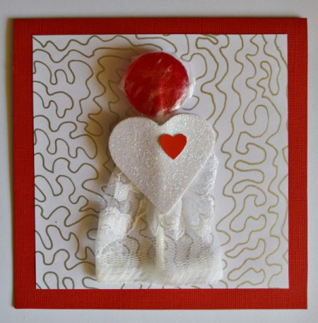 You Make My Heart Pop Valentine Card - add heart cut from white glitter foam sheet and leftover red cardstock