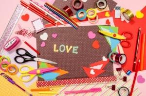 Craft supplies for Valentine's Day crafts