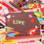 Craft supplies for Valentine's Day crafts