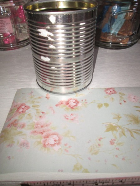 Decorate Food Cans For Office or Craft Storage - can and floral scrapbook paper