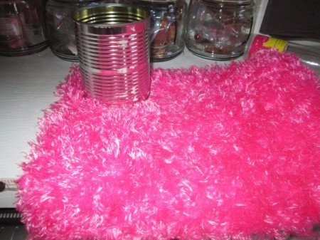 Decorate Food Cans For Office or Craft Storage - can and bright pink fuzzy fabric