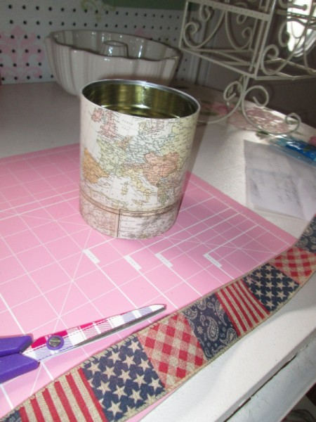 Decorate Food Cans For Office or Craft Storage - can decorated with map motif paper and Americana ribbon on cutting mat