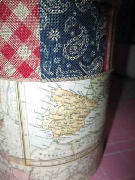Decorate Food Cans For Office or Craft Storage - closeup of ribbon attached to top of map can