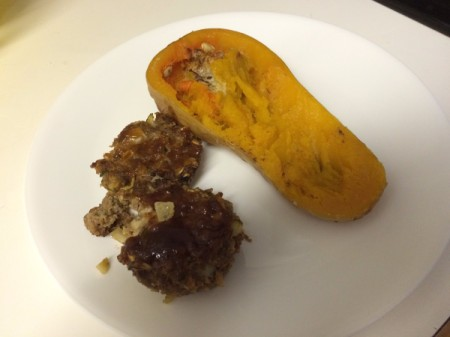 Mini Meatloaves on plate with squash