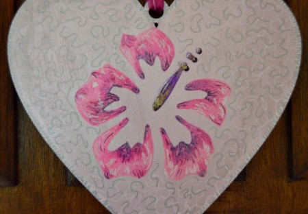 Hibiscus Love Mural Decoration - add white squiggles around flower and stitched lines around heart, finally add some silver squiggles