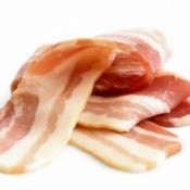A pile of bacon slices.