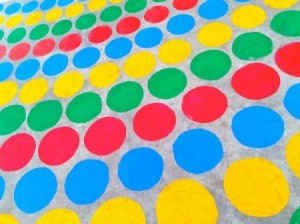 A homemade Twister game.