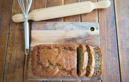 A loaf of banana applesauce quick bread.