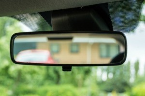 A rear view mirror in a car.