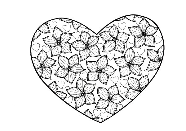 Coloring Pages For Adults Hearts : True Love Heart Adult Coloring Page ThriftyFun