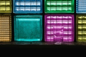 Colorful painted glass blocks.