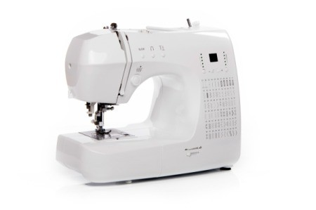 A sewing machine on a white background.