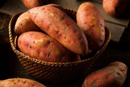 A basket of sweet potatoes.
