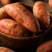 A basket of sweet potatoes.