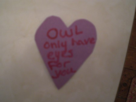 Owl Valentine - heart with message