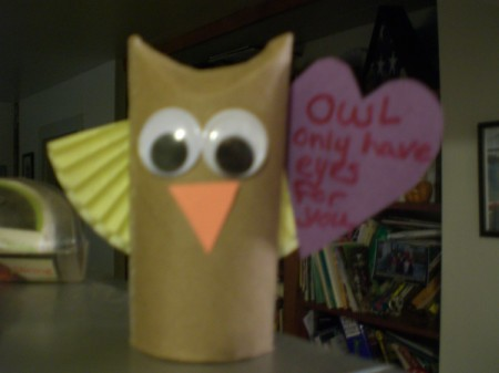 Owl Valentine - owl holding heart card