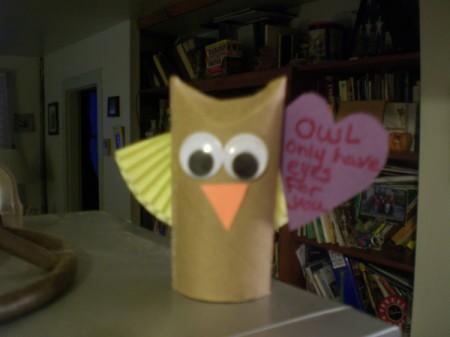 Owl Valentine - googly eye owl