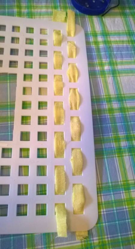Sink Mat to Photo Frame - begin weaving fabric