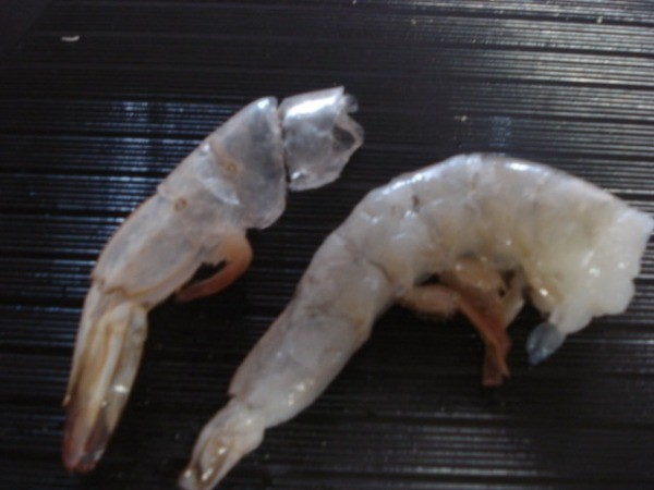 A shrimp next to a removed shell.