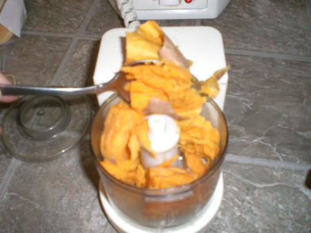 sweet potato added to food processor