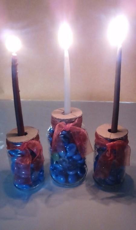 Glass Jar Candle Holder - closeup of lit candles