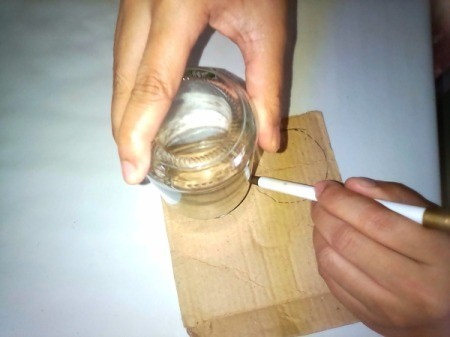 Glass Jar Candle Holder - trace a circle the size of jar opening on the cardboard