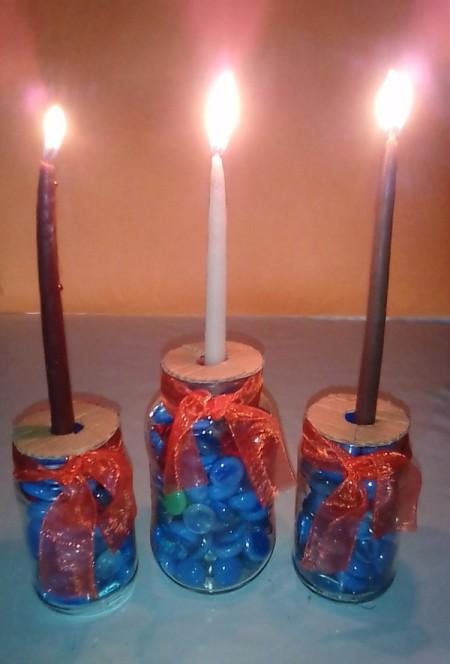 Glass Jar Candle Holder - lit candles