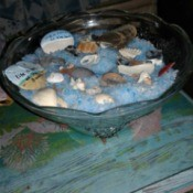 Cat Litter as Decorative Sand - glass bowl with blue litter and shells