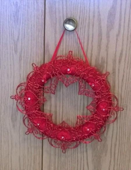 Romantic Wreath - wreath hanging on closet knob