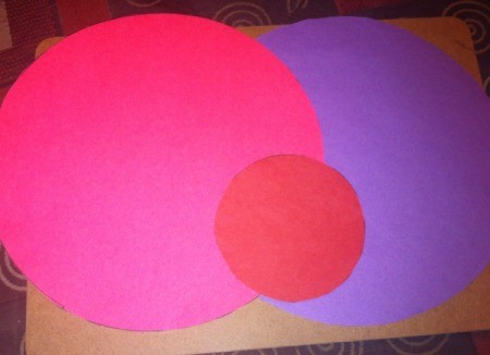 Love Bugs Kids' Craft - cut a large pink and a large purple circle and a smaller red one