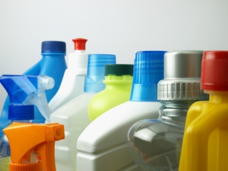 Bottles of cleaners.
