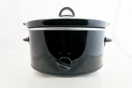 Black slow cooker.