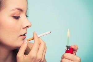 A girl smoking a cigarette.