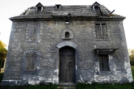 A creepy old abandoned house.