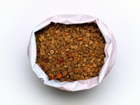 A large bag of pet food.