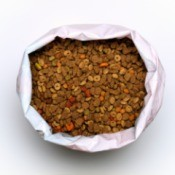 A large bag of pet food.