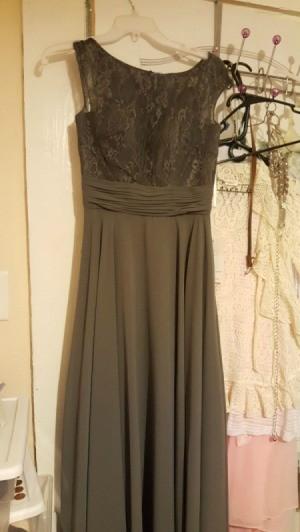 Dyeing a Bridesmaid Dress - dark grey dress on hanger