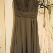 Dyeing a Bridesmaid Dress - dark grey dress on hanger